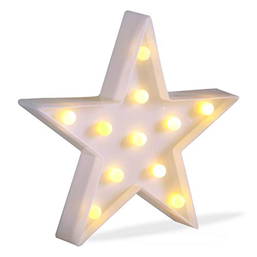 3D Star Light, LED plastic Star Shaped Sign-Lighted Marquee Star Sign Wall Decor for Chistmas,Birthday party,Kids Room, Living Room, Wedding Party Decor,Romantic Deco Lamp Night Table Light(White )