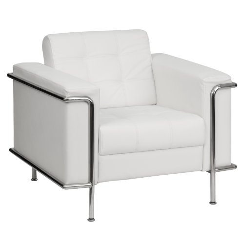 Flash Furniture HERCULES Lesley Series Contemporary Melrose White Leather Chair with Encasing Frame