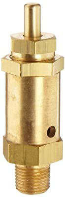 "Kingston 125SS Series Brass Safety Valve, 10 psi Set Pressure, 1/8"" NPT Male by Kingston Valves"