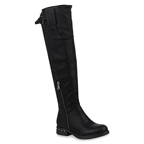 Stiefelparadies Damen Reiterstiefel mit Blockabsatz Nieten Zipper Flandell Schwarz Black Carlton