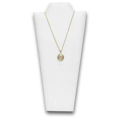 Faux Leather Padded Necklace Display - Ikee Design 4 pf White Faux Leather Covered Padded Wood Necklace Display With Easel 4 1/4