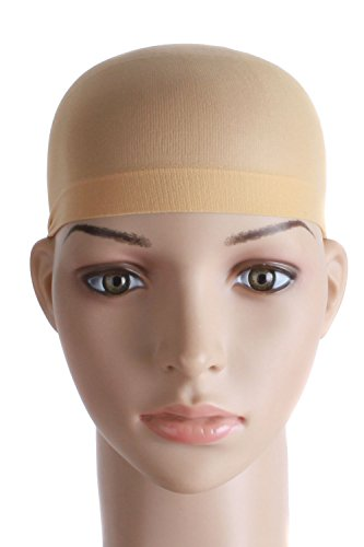 (MapofBeauty 2 Pieces One Size Nylon Wig Cap (Neutral Beige)