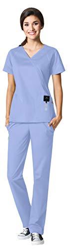 - WonderWink Seven Flex Women's Medical Uniforms Scrub Set Bundle- 6702 Crossover Mock Wrap Scrub Top & 5702 Cargo Scrub Pants & MS Badge Reel (Ceil Blue - XX-Large/XXX-Large)