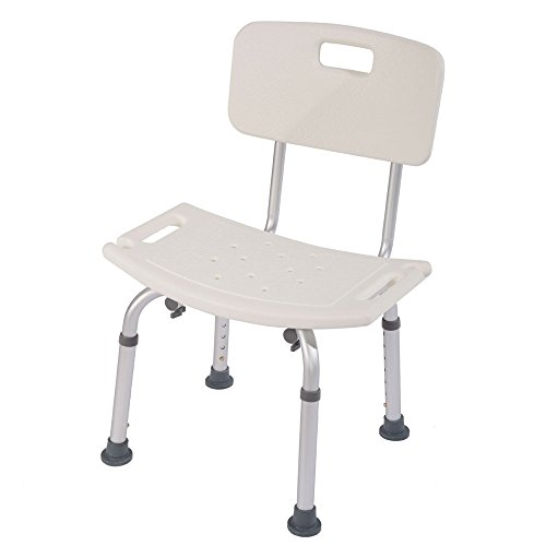 Mefeir Upgraded 450LBS Medical Shower Chair Bath Seat, Stool Transfer Bench SPA Bathroom Bathtub Chair No-Slip Adjustable 7 Height(with Back)