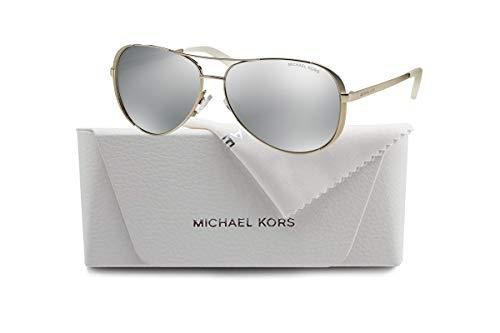 Michael Kors MK5004 CHELSEA Aviator 1001Z3 59M Silver-Tone/Silver Mirror Polarized Sunglasses For Women +FREE Complimentary Eyewear Care Kit (Ziel Aviator Sonnenbrille)