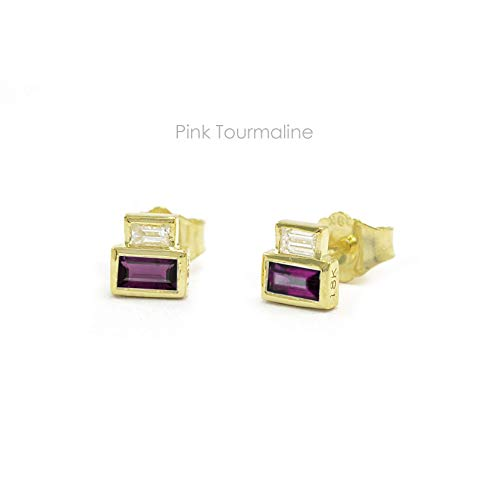 - Natural Pink Tourmaline & Baguette Diamond Studs Earrings in 14k Solid Gold Yellow Gold Handmade Minimalist Jewelry Gift