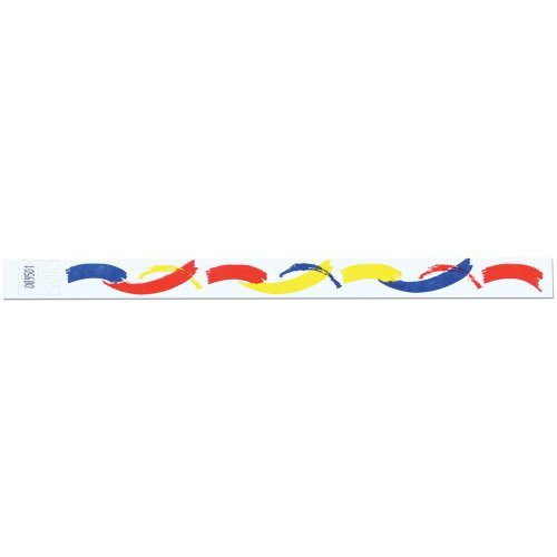 Tyvek Wristbands - 3/4 Inch - Paint Brush Patterns - Abstract Designs - White Color - 500 Pieces per Box by Precision Dynamics