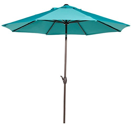 Aruba Sunbrella - Abba Patio Sunbrella Patio 9 Feet Outdoor Market Table Umbrella with Auto Tilt and Crank, 9', Canvas Aruba