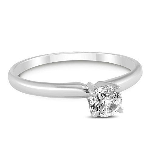 Round Diamond Solitaire Ring in 14K White Gold