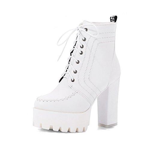 BalaMasa Womens Fashion Solid Platform Urethane Boots White