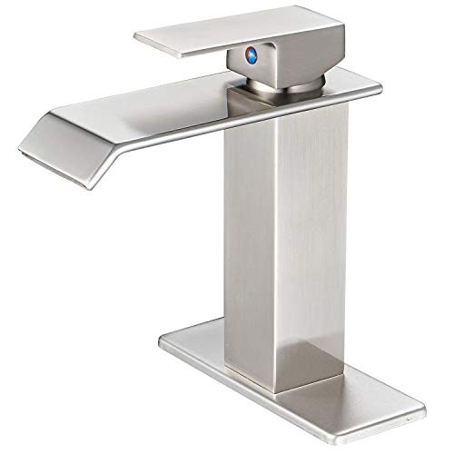 Satin Water Nickel - BWE Waterfall Spout Brushed Nickel Single Handle One Hole Bathroom Sink Faucet Deck Mount Lavatory Commercial
