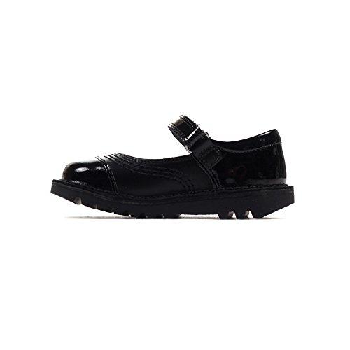 8 UK Kickers Chaussures Garçon Cuir Lanière Reasan Noires Noir Enfant q7q8zS