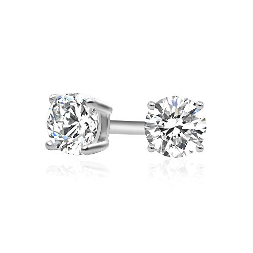 925 Sterling Silver Cubic Zirconia Classic Basket Prong Set Eternity Stud Earrings, 3mm