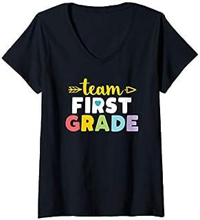 Womens Team First Grade  1st Student Teacher First Day Toddler V-Neck T-shirt | Size S - 5XL