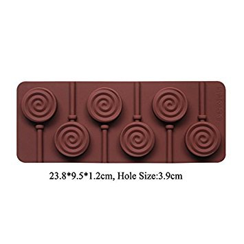 BAKER DEPOT Silicone chocolate Lollipop Mold with 6 Holes, Double Heart, Star, Small Flower, Smile Face, Round, Etc, Design, Set of 5: Amazon.es: Hogar