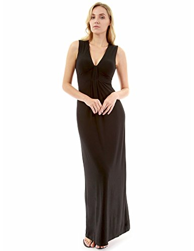 Knot Sleeveless V-neck (PattyBoutik Women V Neck Knot Front Sleeveless Maxi Dress (Black Large Tall))