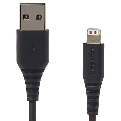 AmazonBasics Lightning to USB A Cable - MFi Certified iPhone Charger - Black, 6-Foot, 2-Pack