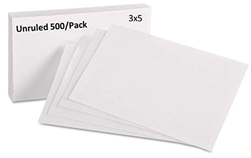 1InTheOffice Unruled Index Cards 3x5, White, 500/Pack