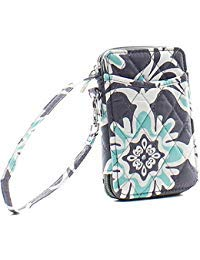 Wristlet Wallet for Girls Quilted Fun Designs with Phone Pouch (Grey & Teal Quatrofoil)