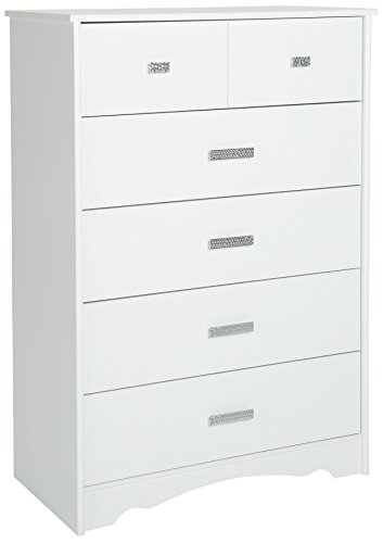 (South Shore 9059035 Tiara 5-Drawer Dresser, Pure White with Jewel-Like Handles)