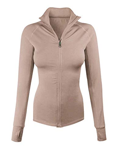 makeitmint Women's Comfy Zip Up Stretchy Work Out Track Jacket w/Back Pocket Medium YJZ0002_02KHAKI