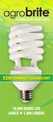 (Hydrofarm Agrobrite FLC32D Compact Fluorescent Spiral Grow Lamp, 32 Watt,)