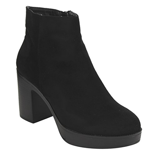 Beston EI89 Women's Side Zipper Platform Stacked Chunky Heel Ankle Booties, Color:BLACK, Size:9 (Zipper Side Platform)