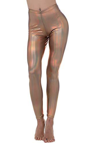 Diamond keep it Liquid Wet Look Shiny Metallic Stretch Leggings (XL, Multicolor Brown)
