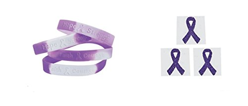 12 Purple Ribbon Camouflage Silicone Bracelets + 12 Free Purple Awareness Face Tattoo Stickers]()