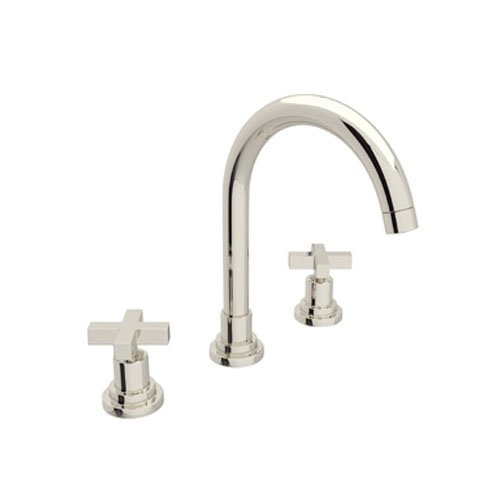 Rohl A2208XMPN-2 A2208Xm-2 Lombardia Widespread Bathroom Faucet with Metal Cross Handles, Polished (Polished Nickel Cross)