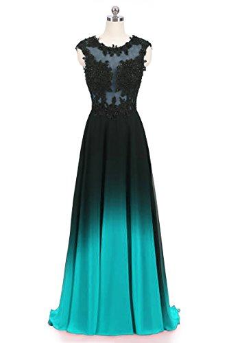 - Dydsz Evening Party Dresses Long Prom Formal Dress A Line Ombre Women Chiffon Appliques D224 Turquoise 10