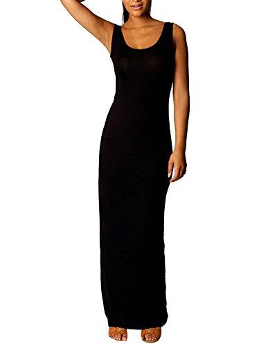 Casuales Negro De Mujer Comodos Largos Vestido Tubo De Ajustado Mangas Vestidos Sin qP7TqrnWa
