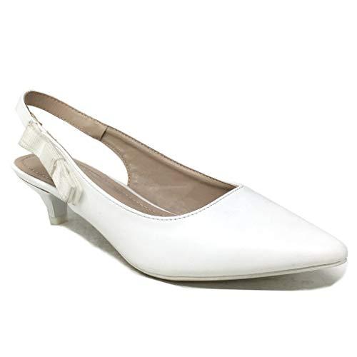 Soirée 4 Blanc Sexy Cm Escarpin Chaussure Confortable Mode Femme Talon Aiguille Noeud Angkorly gqTvwxIx