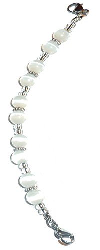 Hidden Hollow Beads  Women's White Beaded Medical Alert ID ()