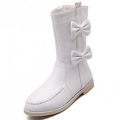 Heart&M Damen Schuhe PU Kunstleder Herbst Winter Neuheit Modische Stiefel Komfort Stiefel Flacher Absatz Runde Zehe Mittelhohe Stiefel Schleife white