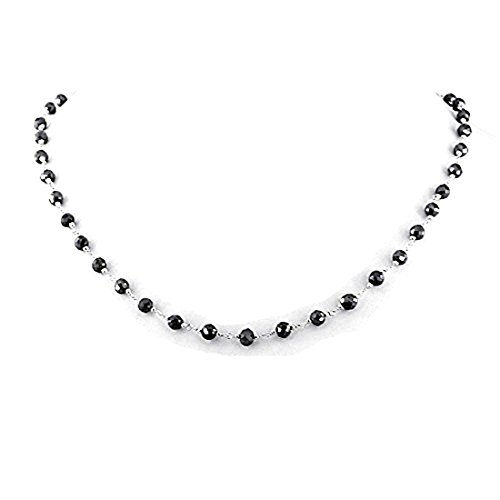 Barishh Black Diamond Beads 14 K White Gold Wire Necklace 18 inches 4mm Certified Excellent Shine by Barishh