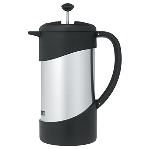 Thermos 34 Ounce Vacuum Insulated Stainless Steel Coffee Press, Stainless with Black (Stainless Steel Insulated French Press)