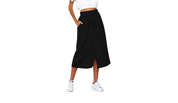 Conquro-falda Media Cintura con Botones en la Parte Alta de Mujer ...
