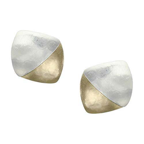 Marjorie Baer Layered Rounded Triangles Clip Earring in Brass and Silver