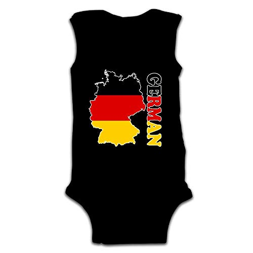 large-scale Cotyou-6 Newborn Infant Baby German Flag Map Sleeveless Crawling Jumpsuit Rompers Black24 Months