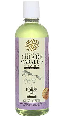 Shampoo Cola de Caballo Biotina, Aloe Vera y Ortiga 500 ml. Natural Shampoo. Horse Tail Shampoo Biotin, Aloe Vera and Nettle 16.91 oz. Lenico