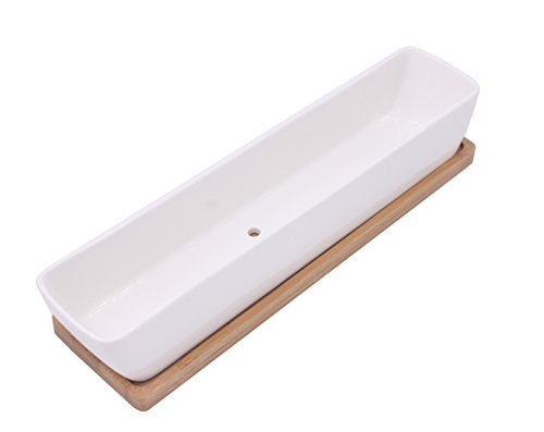 Long Rectangle White Ceramic Plant Pot Small Cactus Succulent Planter As Gift with Drain Hole & Bamboo Tray by LEEN