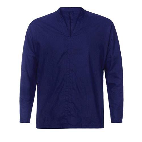 Holgado De Retro Camisa Algodón Lino Larga Marine Cuello Huixin Manga Los Verano Camisas Casual V Vintage Camisetas Tops Hombres Blusa 8q5wAnnX