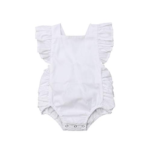 Summer Unisex Baby Romper, Waymine Sleeveless Ruffle Solid Candy Color Jumpsuit Clothes White]()