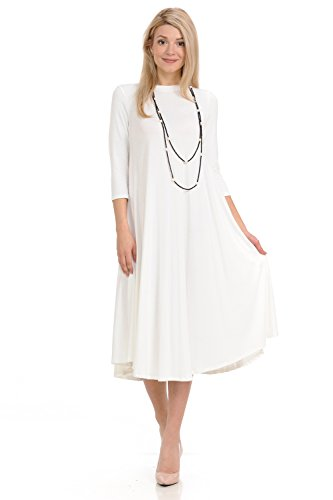 (iconic luxe Women's A-Line Swing Trapeze Midi Dress Small Ivory)