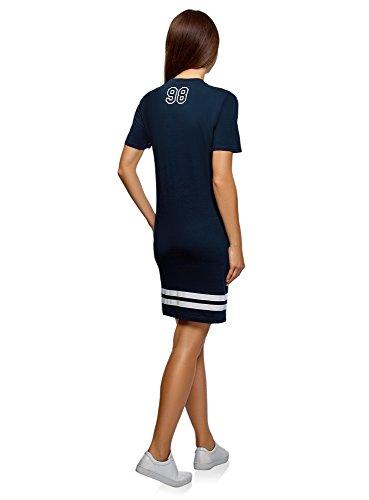 Bleu Ultra Imprime en Maille Robe 7910p Femme oodji zqTdYwS