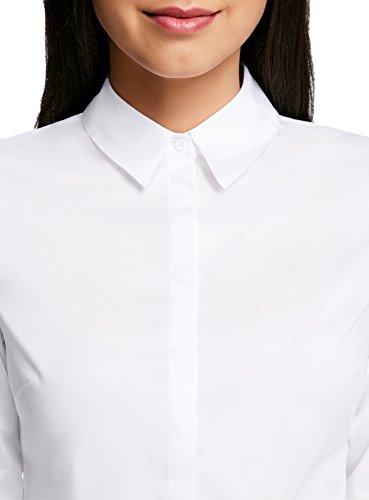 oodji Ultra Mujer Camisa Entallada Básica Blanco (1000N)