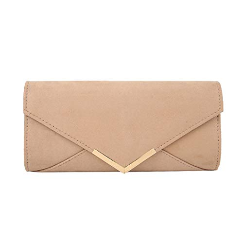 Envelope Clutch Ladies Classic for Bag Khaki Silver Haute Diva XnWx4dT