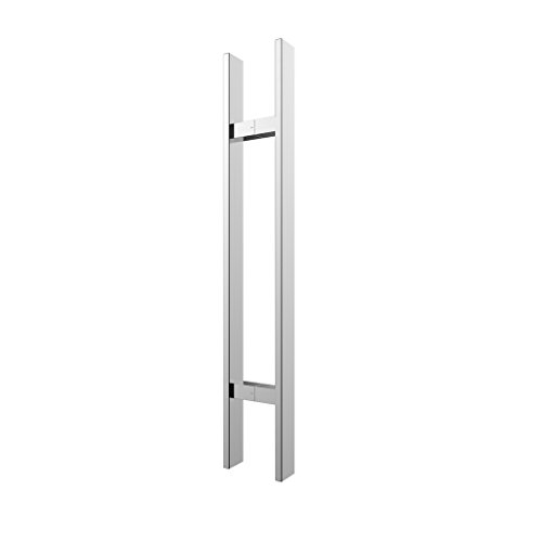 TOGU TG-6018 300mm/12 inches Square/Rectangle H-shape/ Ladder Style Back to Back Stainless Steel Push Pull Door Handle for Solid Wood, Timber, Glass and Steel Doors, Mirror-Polished Chrome (Traditional Ladder Back)