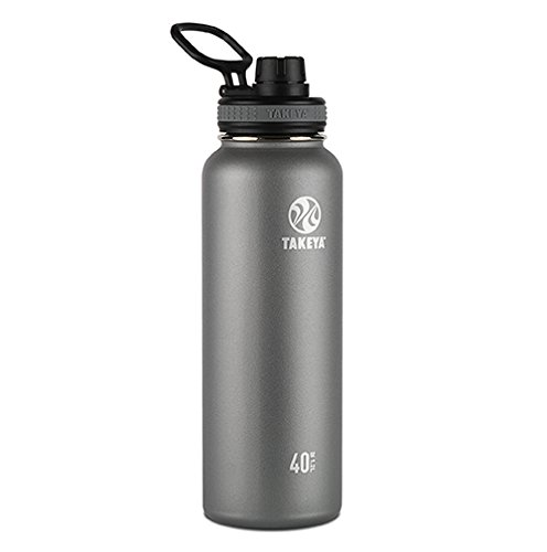 Takeya Originals Vacuum-Insulated Stainless-Steel Water Bottle, 40oz, Graphite